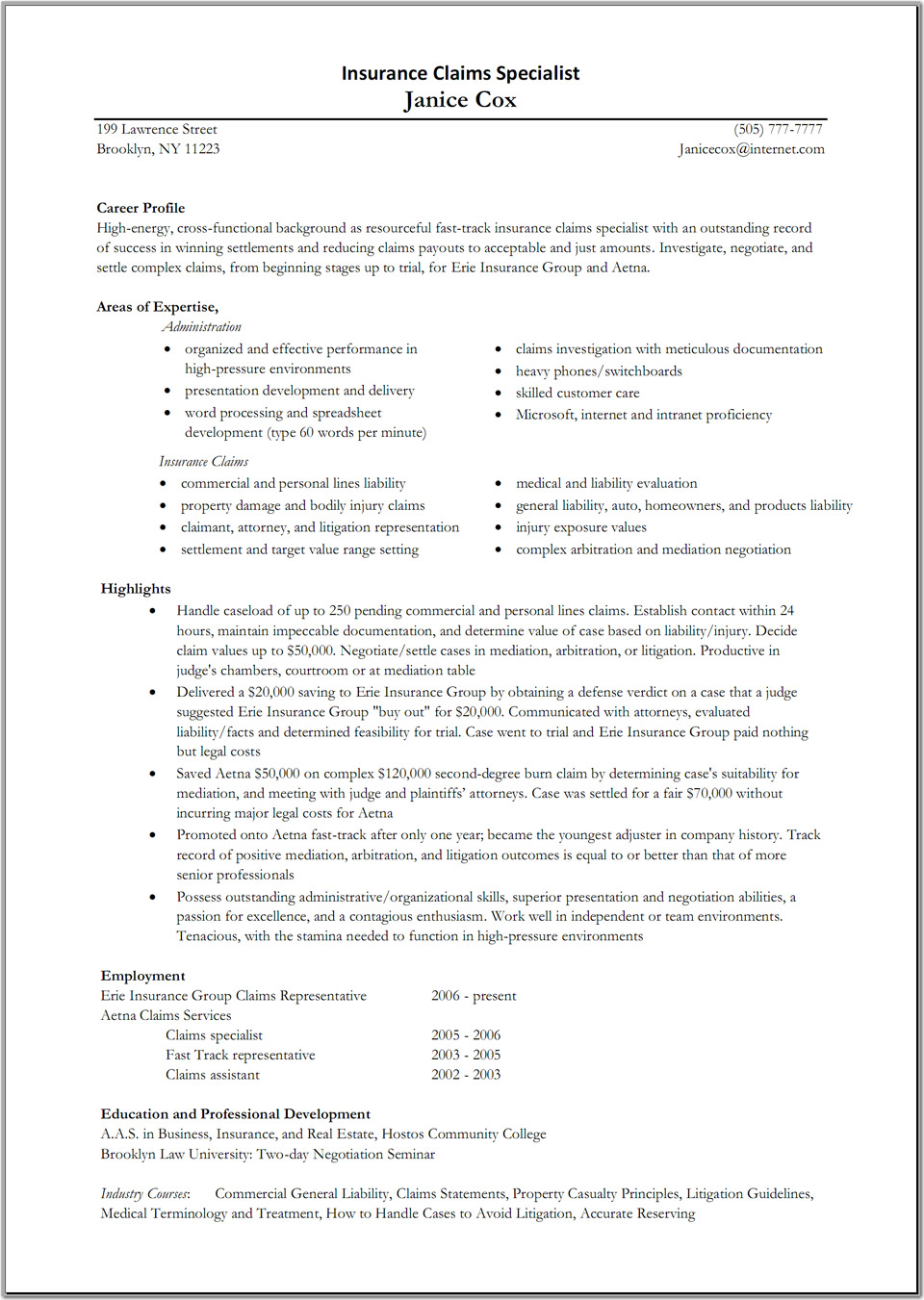 insurance claims adjuster resume sample great resume formats