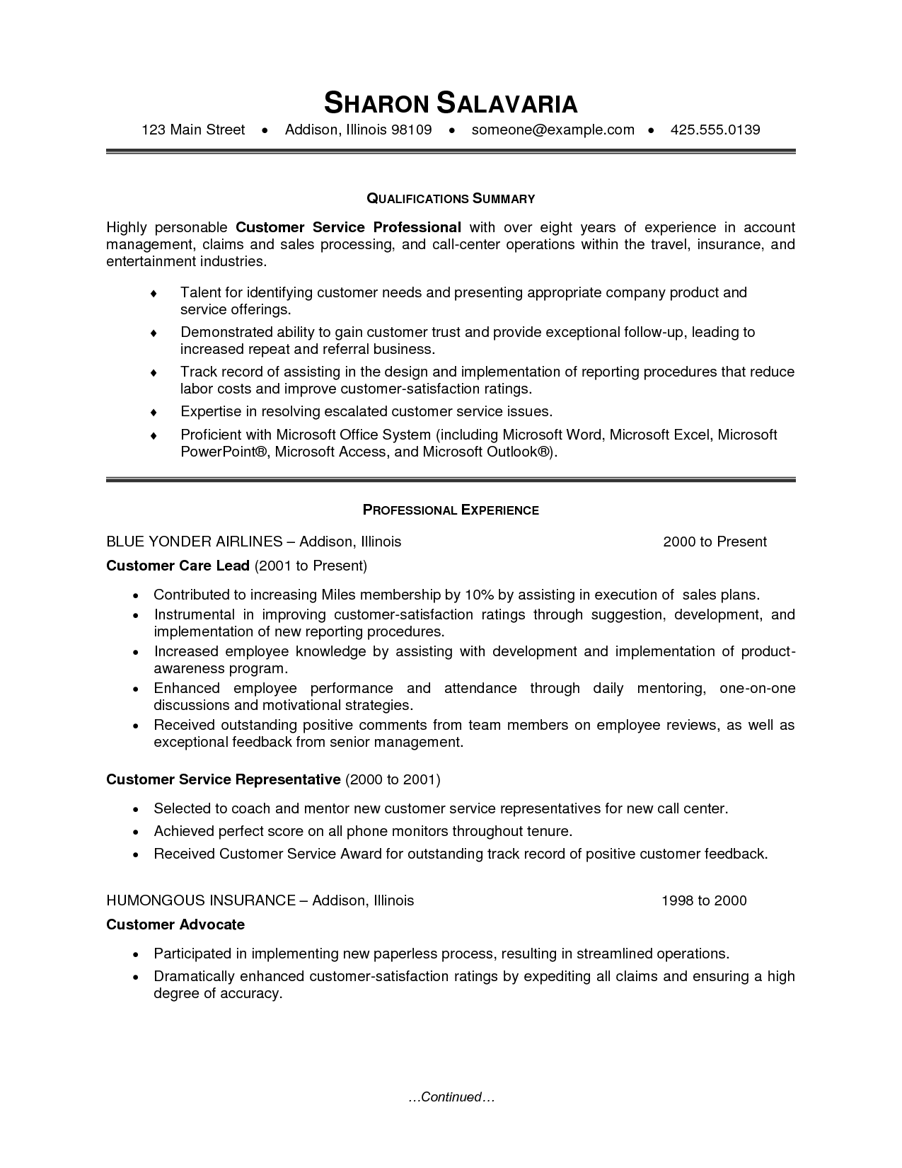 claims representative resume sample
