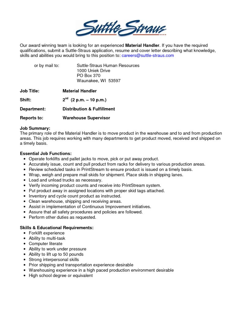 the best material handler job description samplebusinessresume package handler transportation resume sample summary highlights material handler resume templates resume template builder inside