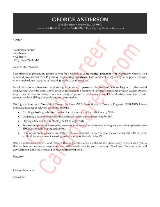 Mechanical Engineer Cover Letter George Anderson  Engineering Cover Letter Examples