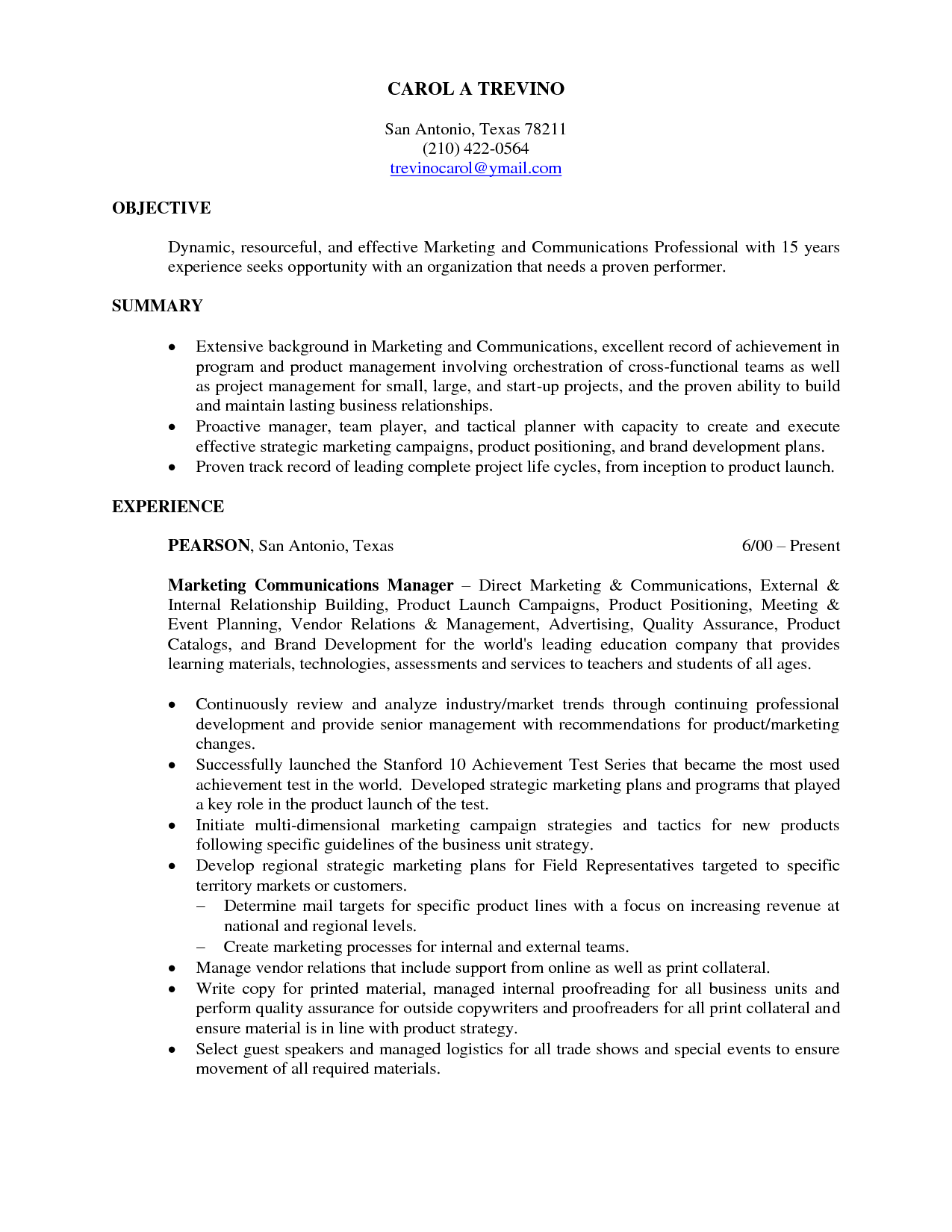 objective for resume marketing