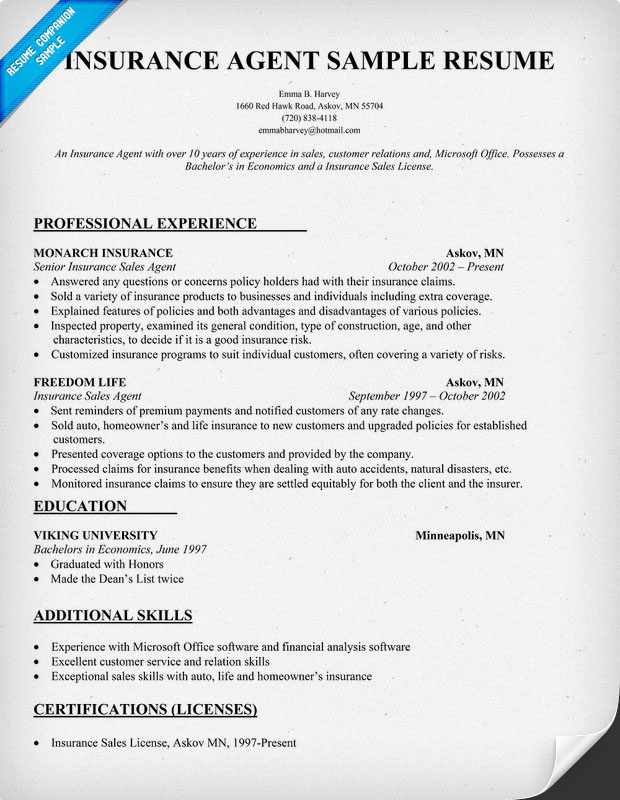 sample insurance agent resume example with insurance agent resume