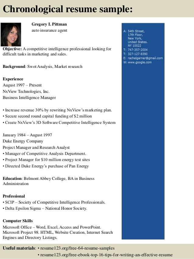 sample resume insurance broker chronological resume sample