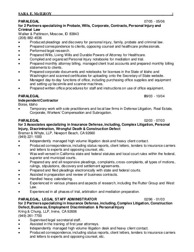 2015 legal resume staff administrator