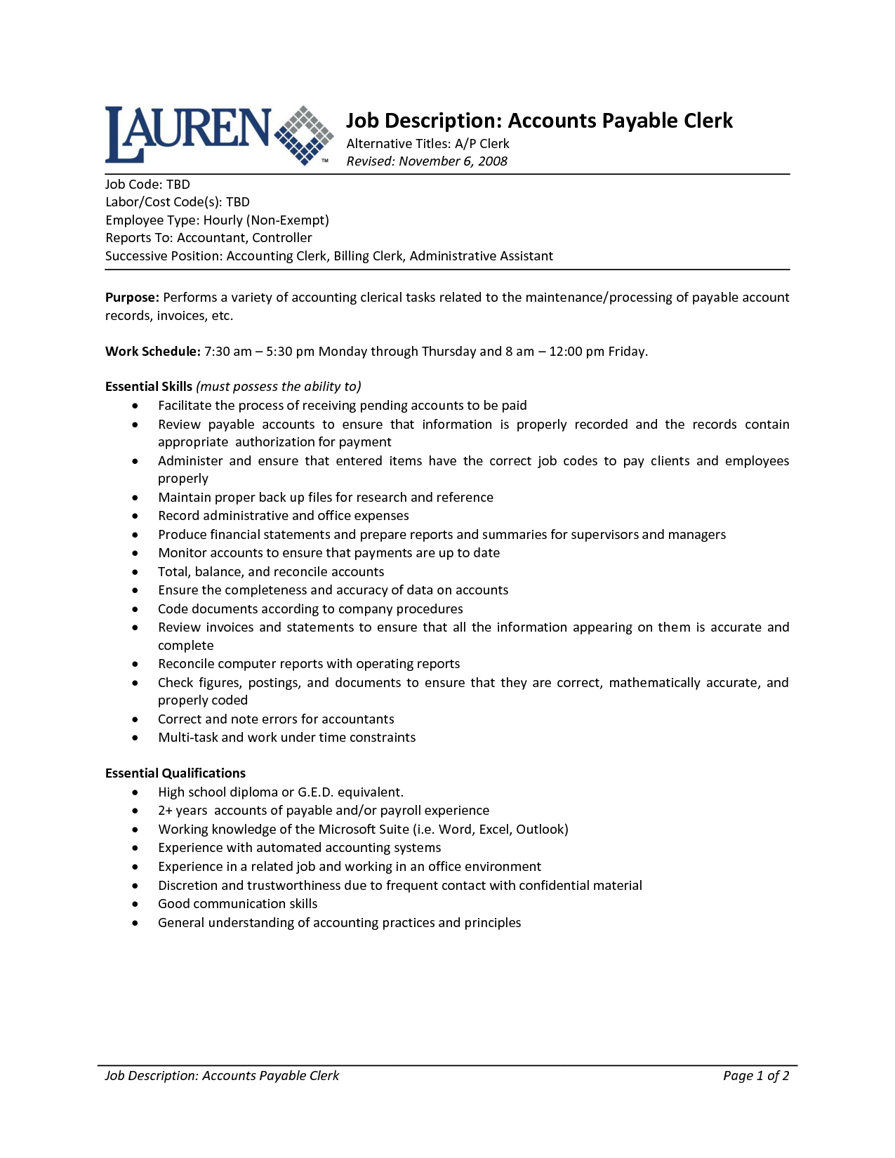 Resume Summary For Accounting Position Sample Resume For Best Business  Template  Clerical Job Description