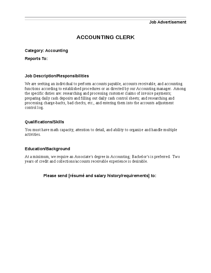 Accounting Clerk Job Description responsibilities qualifications and skills