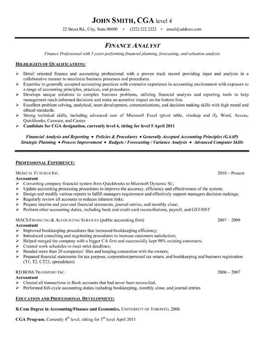 Best Financial Analyst Resume Templates & Samples on Pinterest