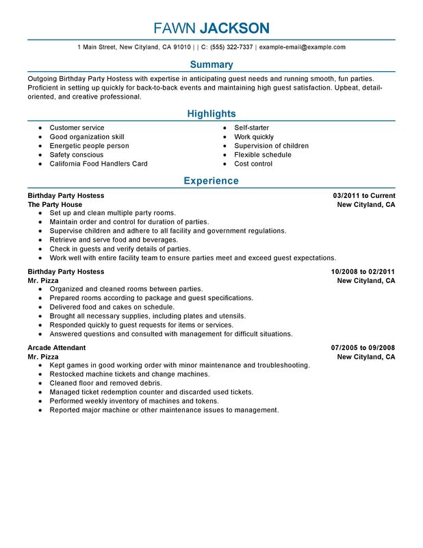 Birthday Party Host Resume Sample summary highlights experience