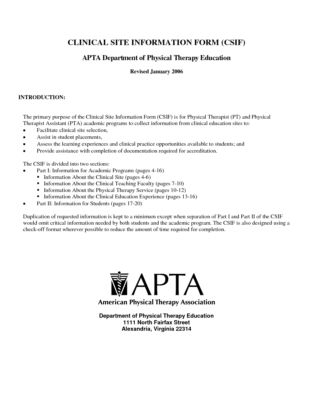 Marvelous Clinical Site Information Form For Apta Department Of Physical Therapy With  Introduction   Physical Therapist Assistant  Physical Therapist Assistant Resume