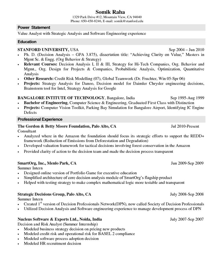 Computer Science Resume Templates power statement professional experience