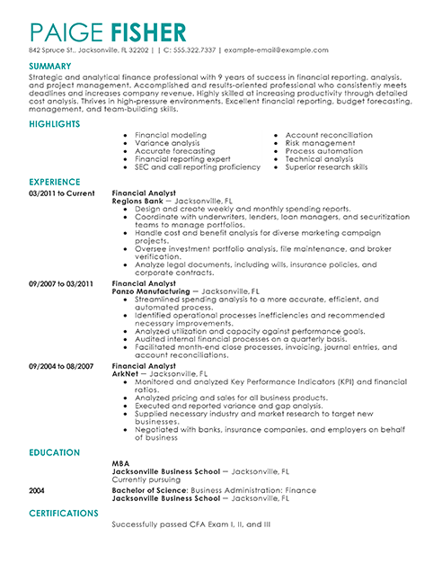 create resume best financial analyst resume example