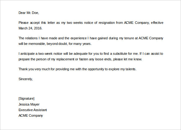Editable Two Weeks Notice Letter Template to Comany