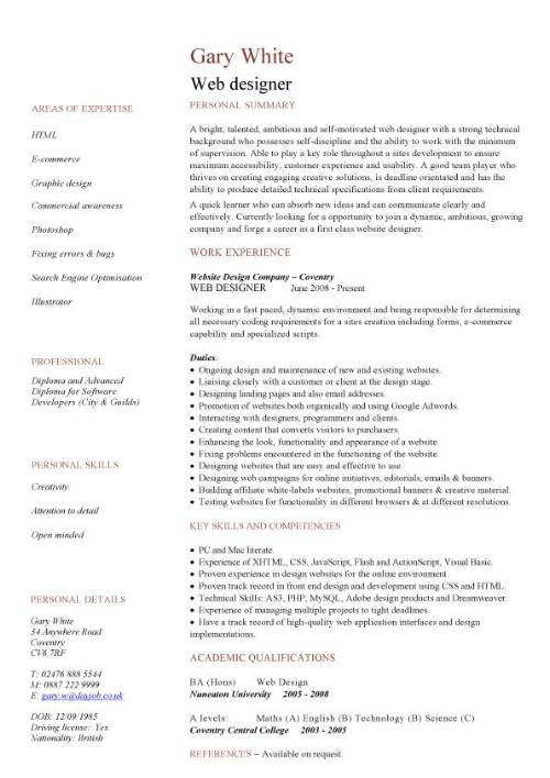 entry level web developer resume template web designer cv template