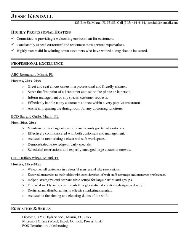 Example Hostess resume sample Microsoft Word JK Hostess
