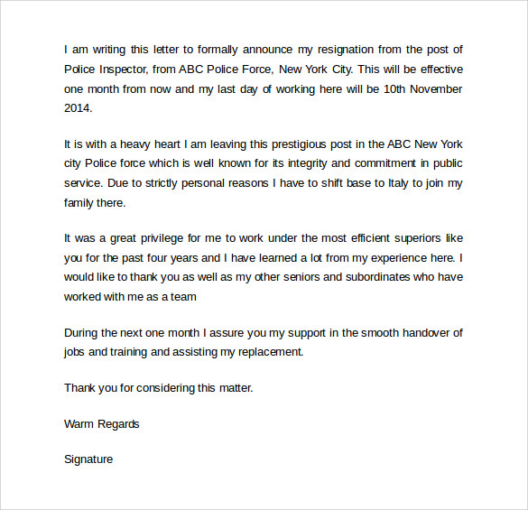 Example Simple Resignation Letter  SamplebusinessresumeCom
