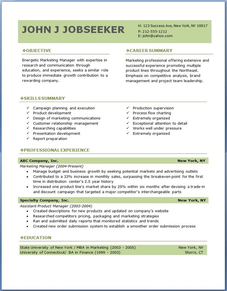 example professional resume template marketing manager experience templates free download word attractive dow