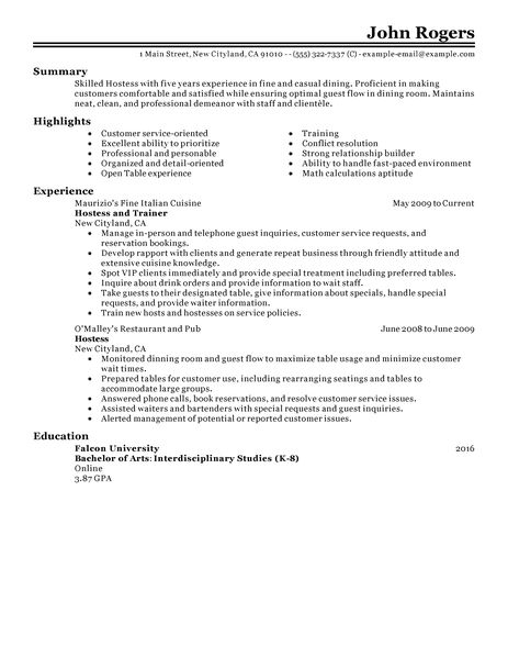 Fast Food Restaurant Resume Examples summary highlights experience