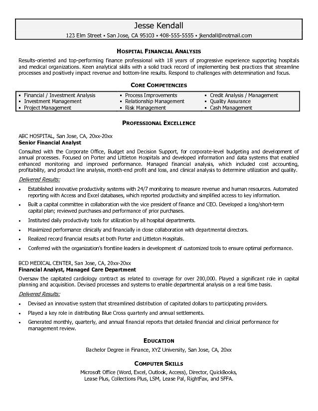 Financial Analyst Resume Sample Financial Analyst Resumes Financial