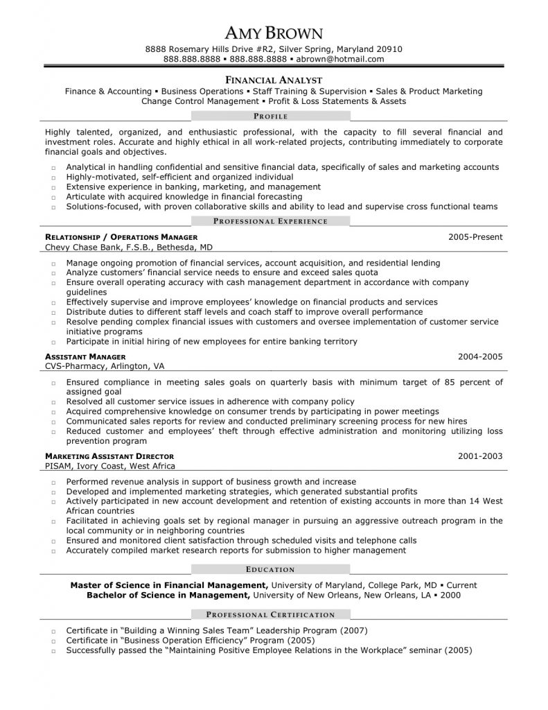 Financial Analyst Resume Sample with Communicated Sales Reports