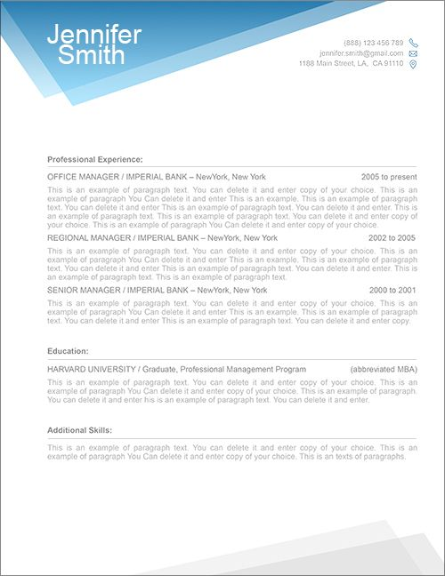Resume Cover Letter Free Templates - Samplebusinessresume.Com