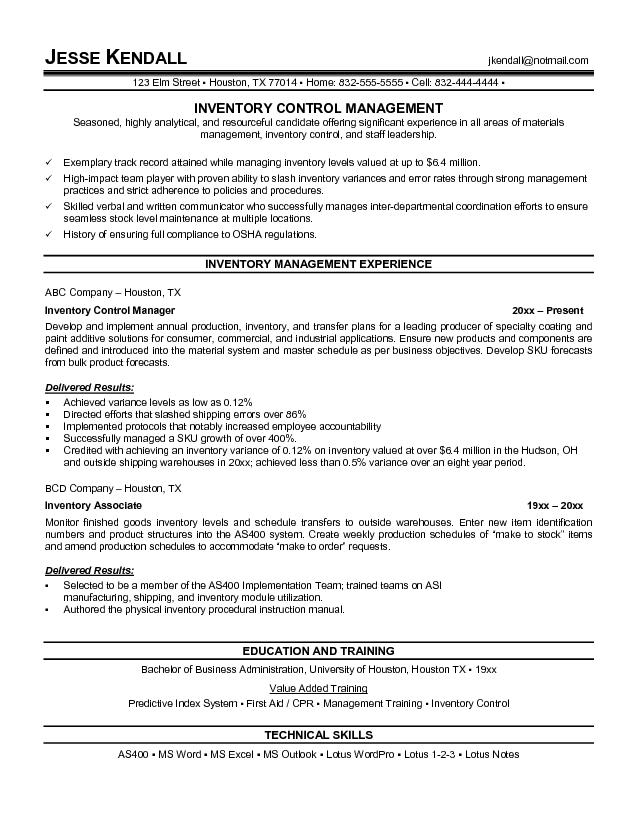 Good Resume Examples Best Template Collection Inventory Control