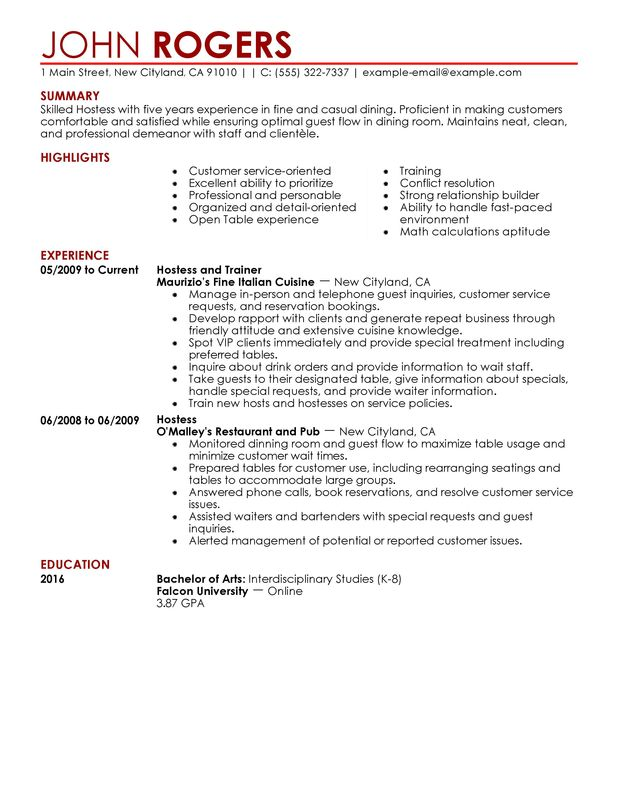 Host Hostess Resume Sample Summary Highlights Experience