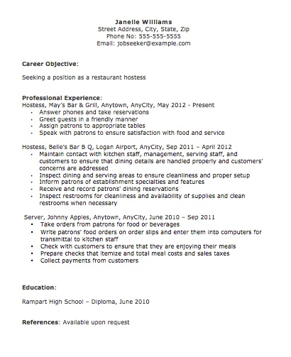 Hostess Host Resume career objective professional experience