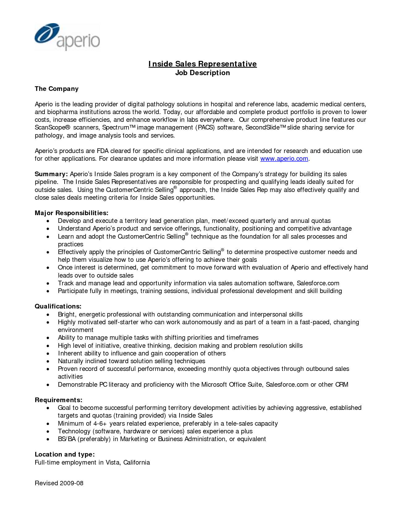 sales representative job description for resume