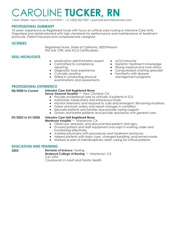 Intensive Care Unit Registered Nurse Resume Sample  Registered Nurse Resume Samples