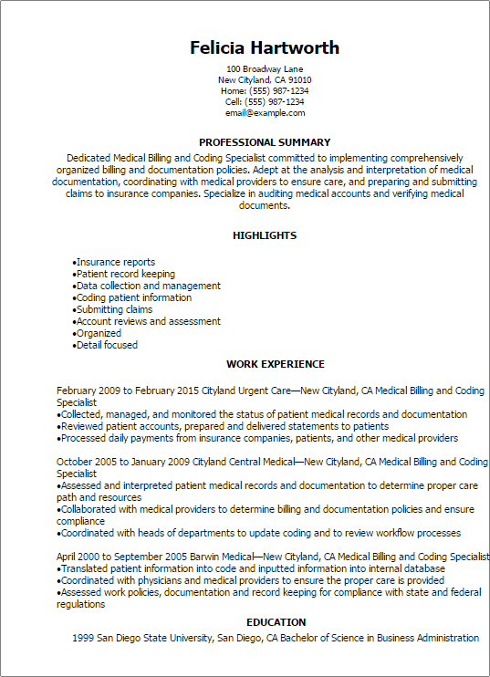 Entry Level Medical Billing And Coding Resume Skills