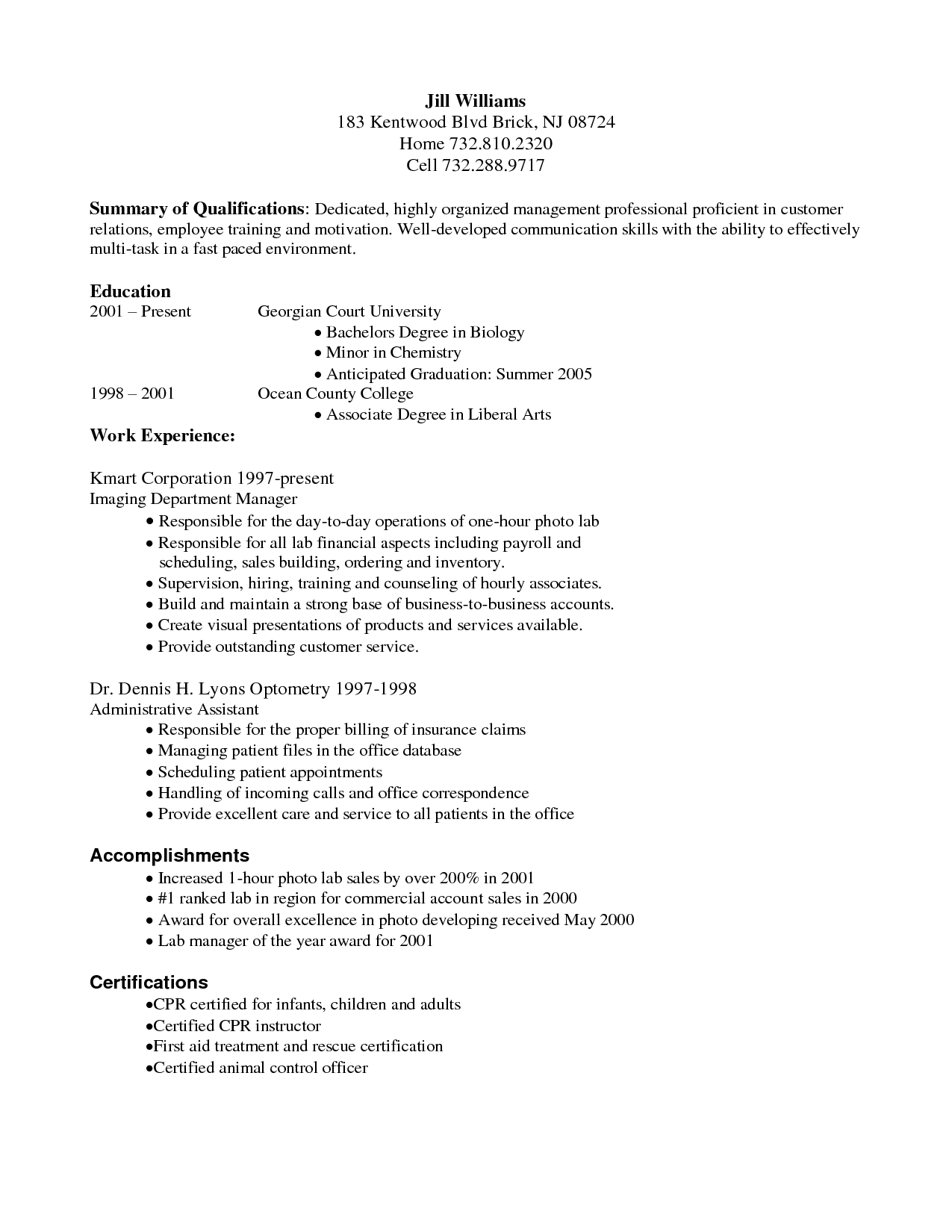 Resume collection medical