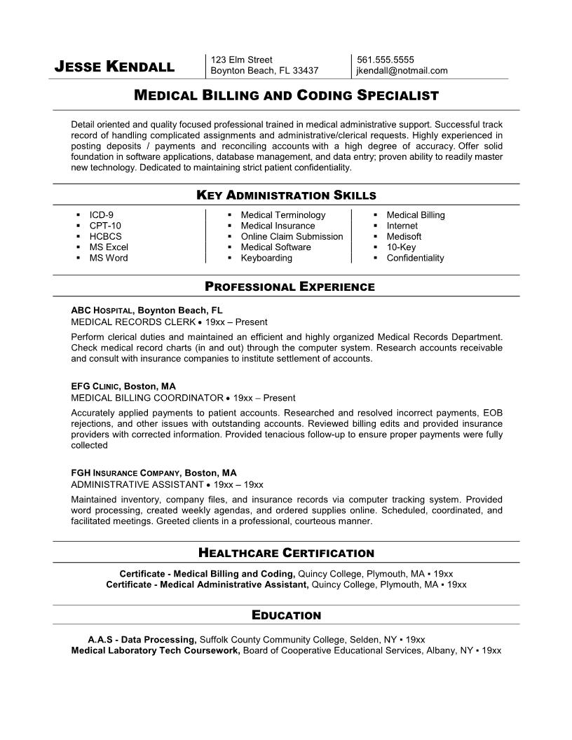 medical billing and coding specialist resume example - Sample Medical Resume