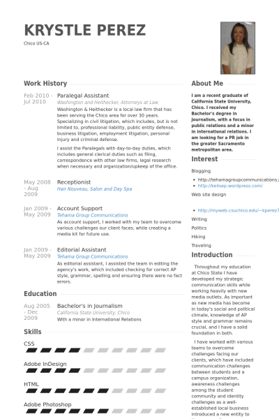 Paralegal Assistant Resume Samples Work History