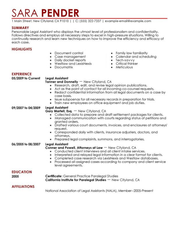 Sample entry level paralegal cover letter resume