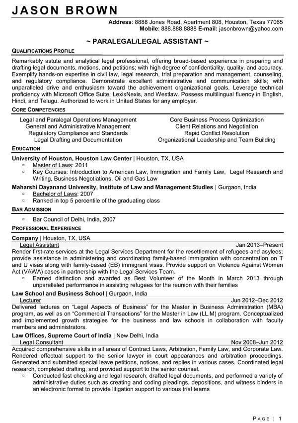 Personal Injury Paralegal Resume Sample
