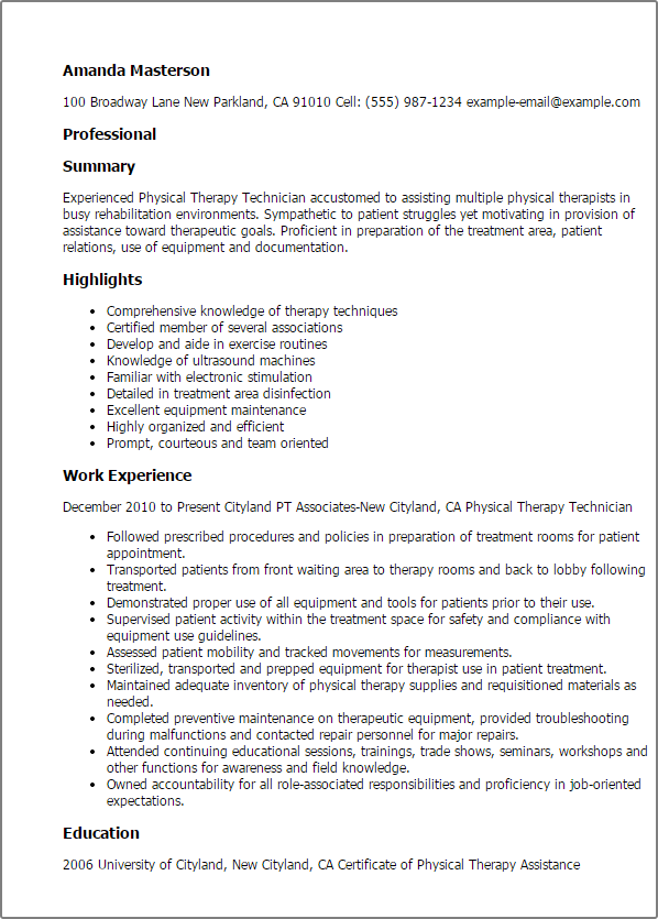 physical therapy technician resume templates work experience
