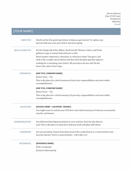 Free Sample Resume Download In Word Format - Samplebusinessresume