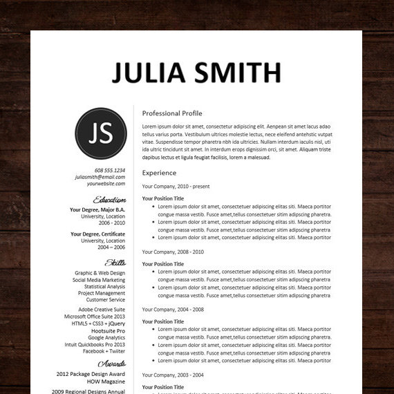 Professional Resume Template Resumes Microsoft Word 2016