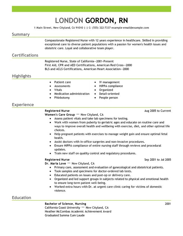 Registered Nurse Resume Sample Healthcare