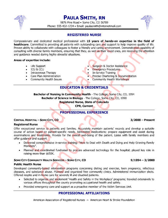 registered nurse resume sample professional experience