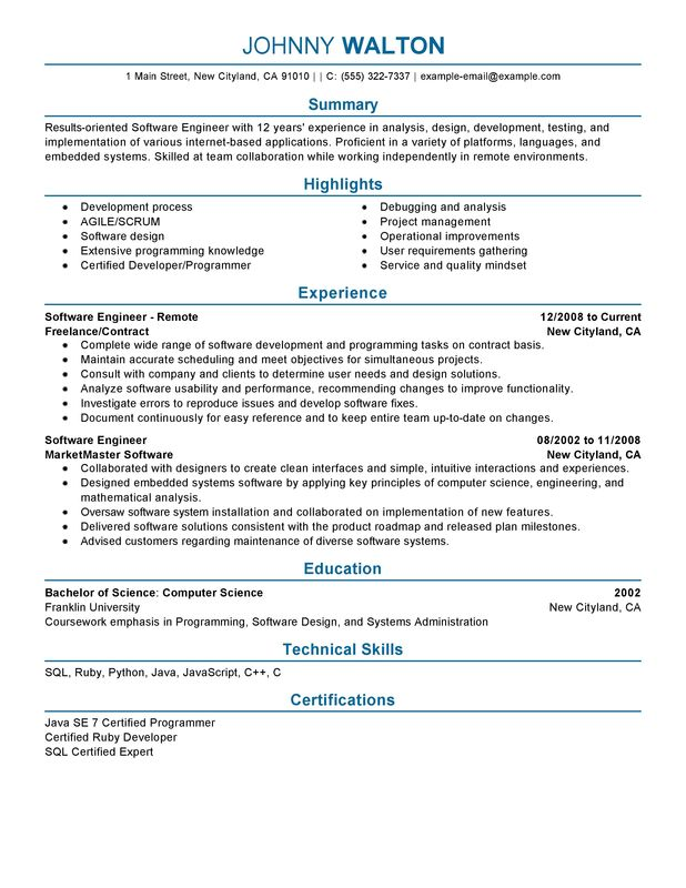 remote software engineer resume sample summary highlights - Sample Of Summary For Resume