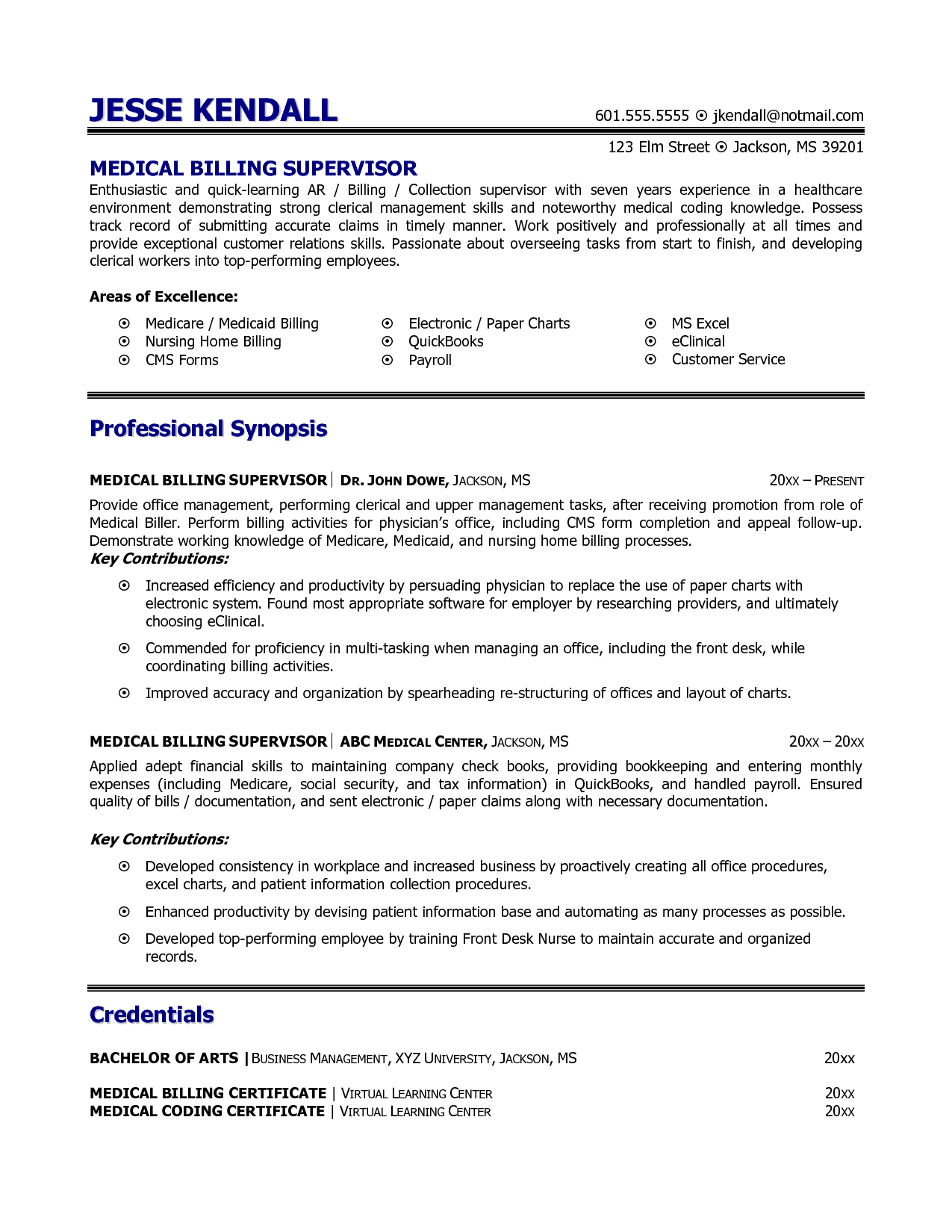 Medical Billing And Coding Resume Example