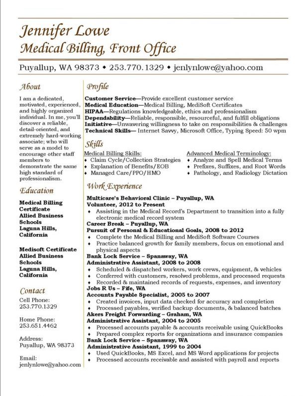 Resume Template Sample Resume For Medical Biller And Coder Medical Billing Resume Summary