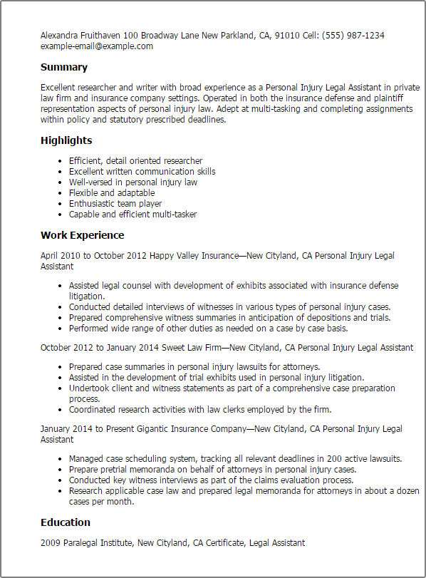 Resume Templates Personal Injury Legal Assistant summary highlights