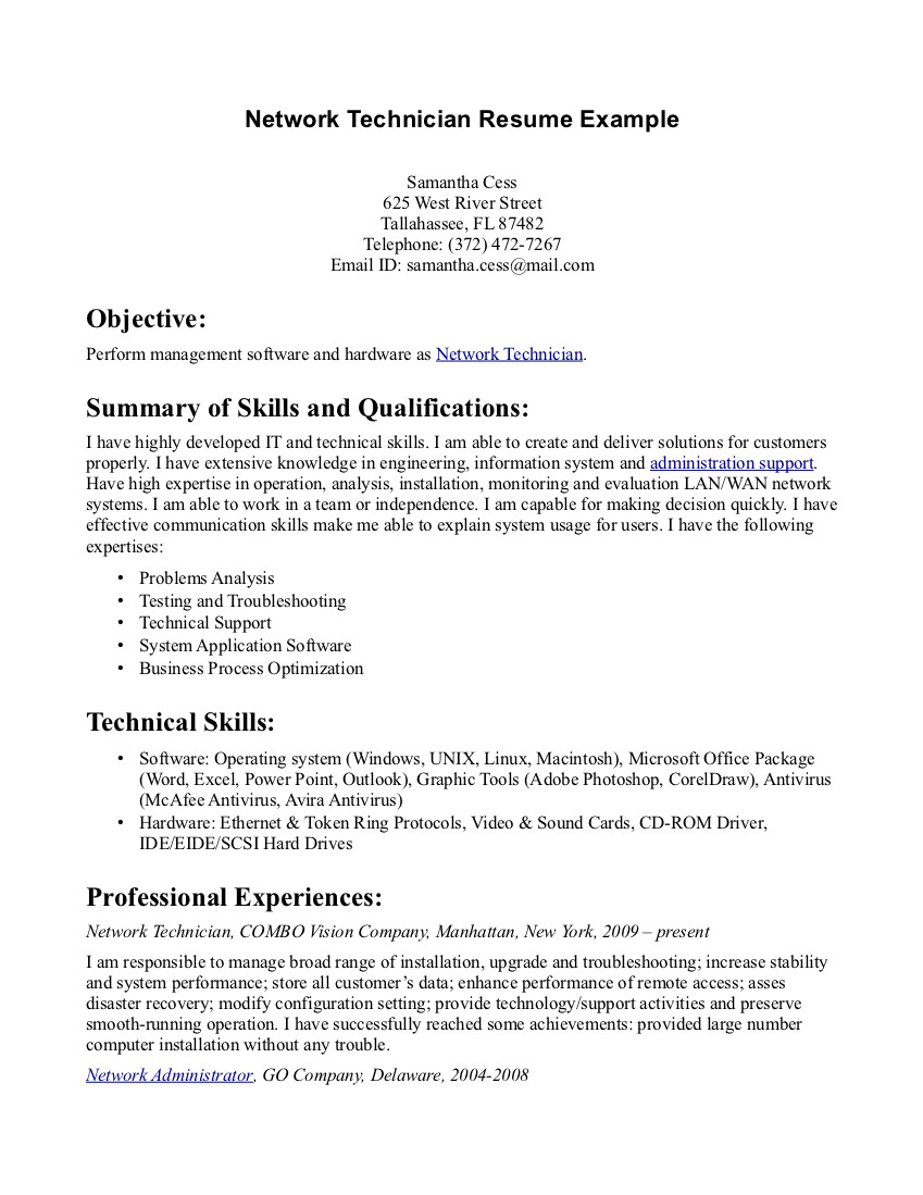Cover Letter For Computer Network Technician Sample Of A Pc