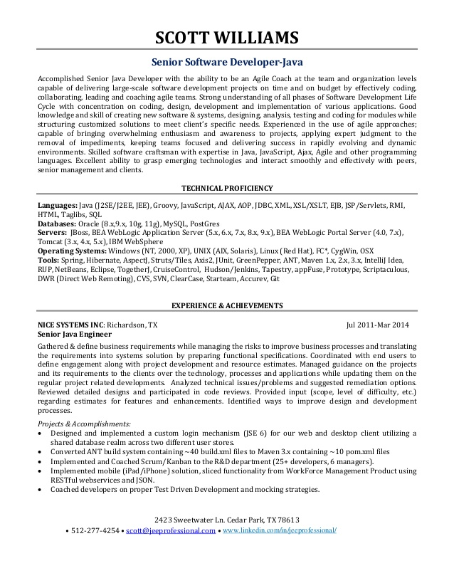 experienced software engineer resume