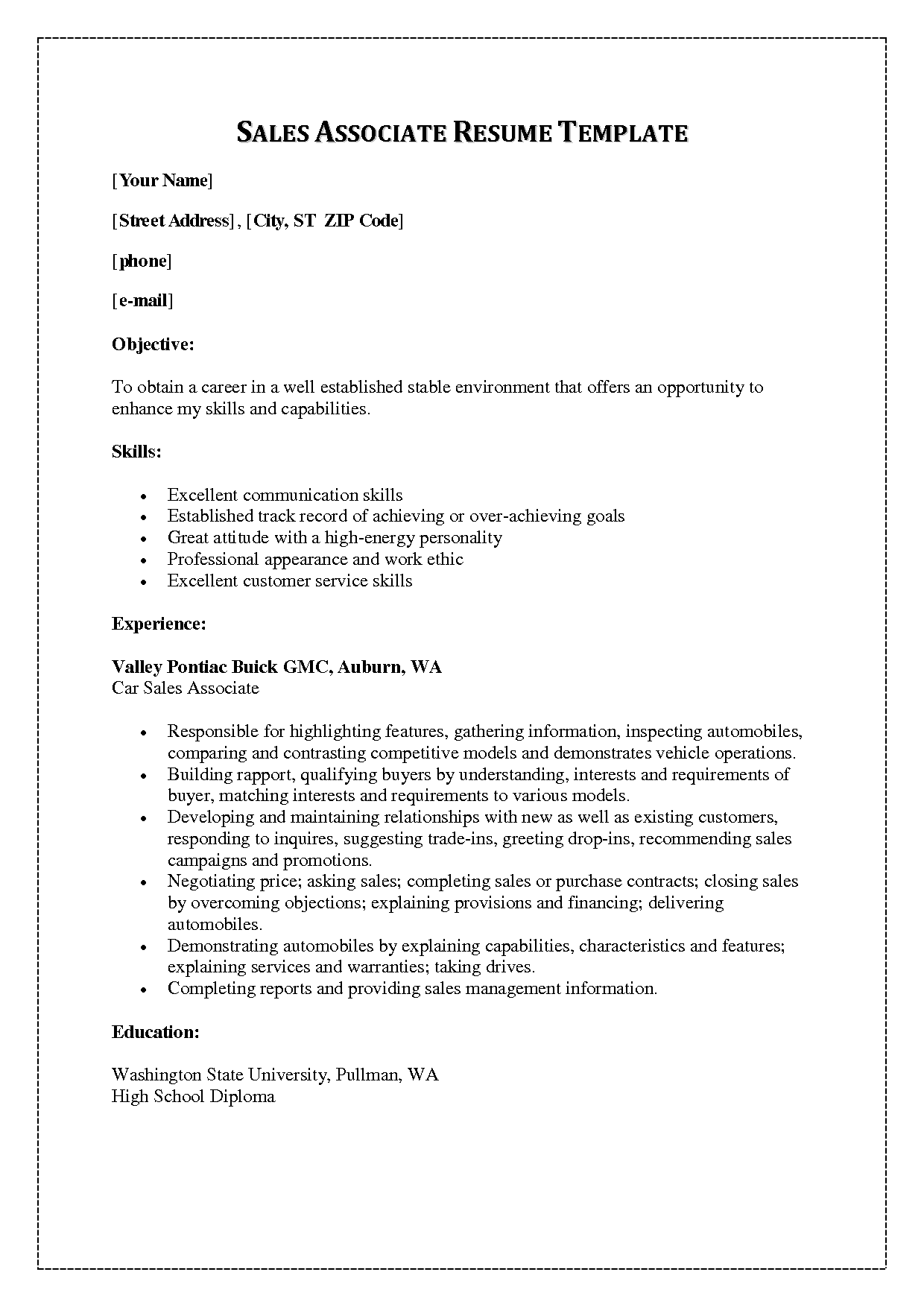 sale associate duties resume