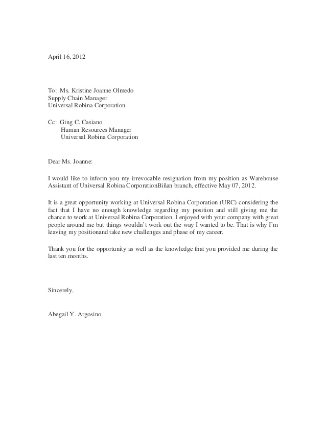 Sample of resignation letter for human resources manager