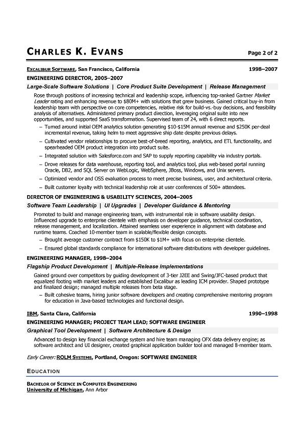 senior software engineer sample resume - Software Engineer Template
