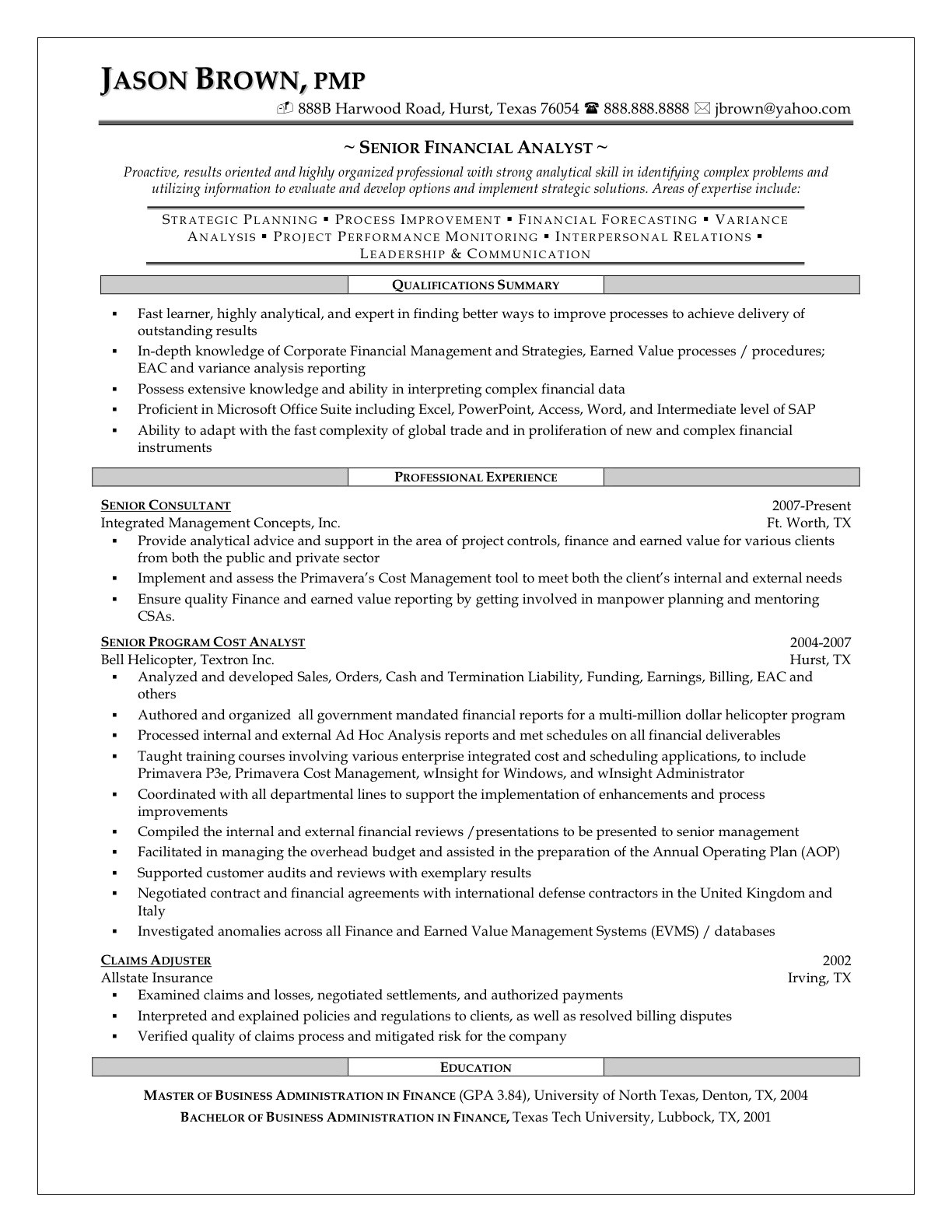 Sample resume for financial analysts